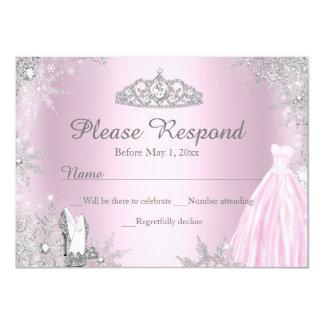 Pink Sparkle Dress Tiara RSVP Reply Card