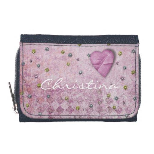 Pink Sparkle Flowers Heart Diamonds Pattern Wallet