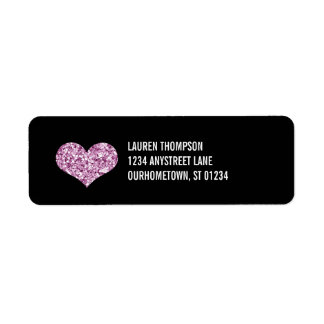 Pink Sparkle Heart Label
