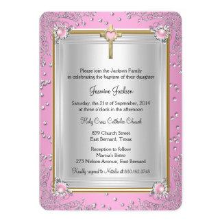Pink Sparkle Jewel Baptism Christening Gold Card
