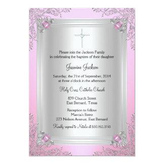Pink Sparkle Jewel Baptism/Christening Invitation