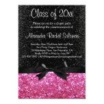 Pink Sparkle-look Black Bow Graduation Invitation