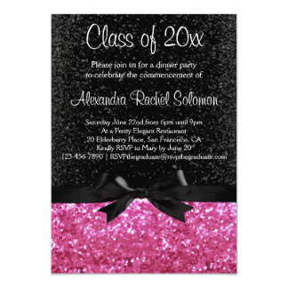 "Pink Sparkle-look Black Bow Graduation Invitation 5"" X 7"" Invitation Card"