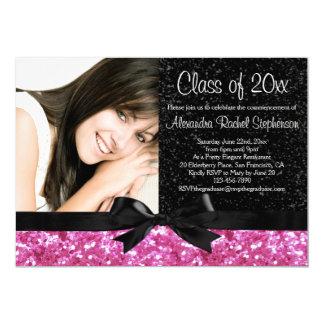 Pink Sparkle-look Bow Photo Graduation 5x7 Paper Invitation Card
