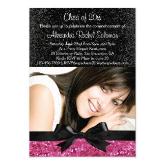 "Pink Sparkle-look Bow Photo Graduation Invitation 5"" X 7"" Invitation Card"