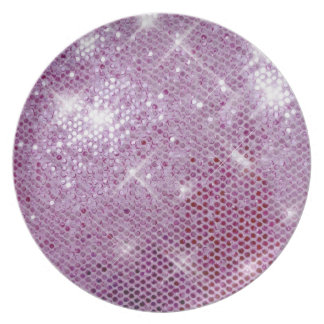 Pink Sparkle-Look Dinner Plates