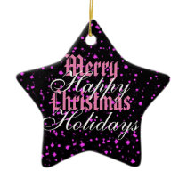 Pink Sparkle Merry Christmas Happy Holidays Ceramic Ornament