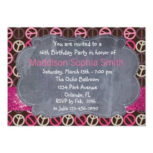 "Pink Sparkle Peace Birthday Invitations 5"" X 7"" Invitation Card"