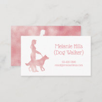 Pink Sparkle Pretty Dog Walker Pet Sitter Business Card