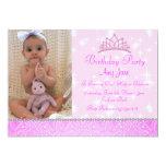 "Pink Sparkle Princess Birthday Invitation 5"" X 7"" Invitation Card"