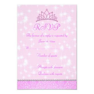 Pink Sparkle Princess RSVP Card
