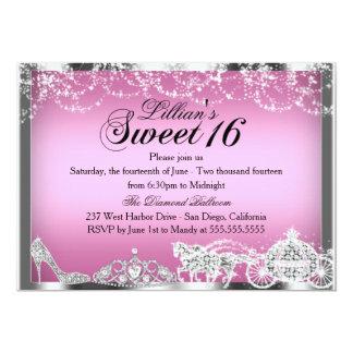 Pink Sparkle Princess Theme Sweet 16 Invite