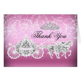Pink Sparkle Princess Theme Thank You Card
