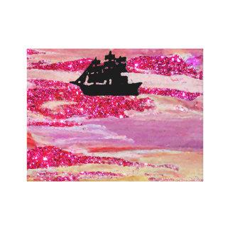 Pink Sparkle Sailing Ship Imagination Ocean Waves Canvas Print