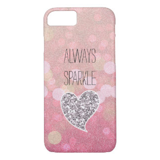 Pink Sparkle Silver Glitter Heart iPhone 7 Case