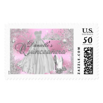 Pink Sparkle Snowflake Quinceanera Stamp