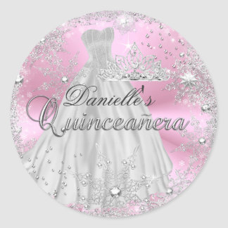 Pink Sparkle Snowflake Quinceanera Sticker