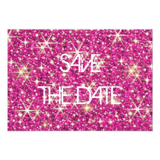 Pink sparkle starry glitter save the date personalised invites