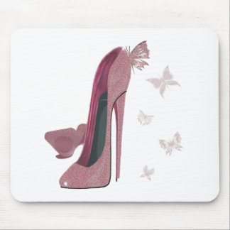 Pink Sparkle Stiletto and Butterfly's Art Mouse Pad