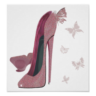 Pink Sparkle Stiletto and Butterfly's Art Poster