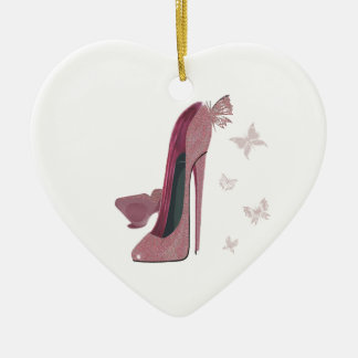 Pink Sparkle Stiletto Shoes and Butterfly Art Ceramic Ornament