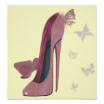 Pink Sparkle Stiletto Shoes and Butterfly's Poster
