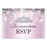 Pink Sparkle Tiara Stars Quinceanera RSVP 3.5x5 Paper Invitation Card