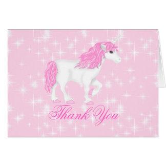 Pink Sparkle Unicorn Thank You Card