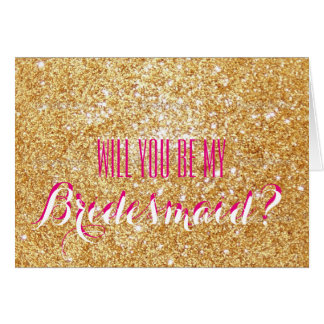Pink Sparkle Will you be my Bridesmaid Card