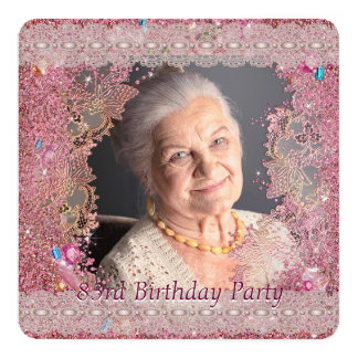 Pink Sparkle Womans Pink Photo 83rd Birthday Party Card