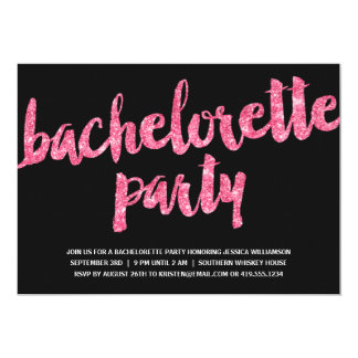 Pink Sparkles   Glitter Look Bachelorette Party Card