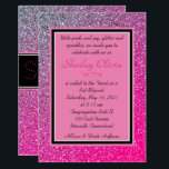 "Pink Sparkles Invitation<br><div class=""desc"">The Pink Sparkles Invitation.  Please contact the designer if you need assistance with the Hebrew,  and please note that all glitter effects are simulated.  No messy glitter involved!</div>"