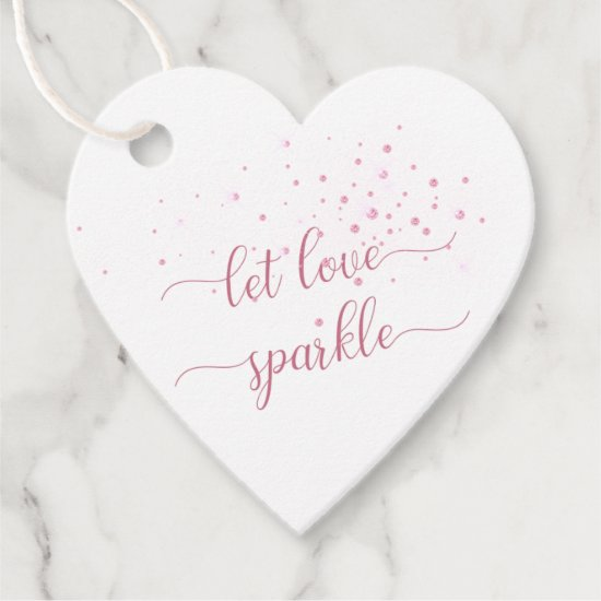 Pink Sparkles Let Love Sparkle Wedding Thank You Favor Tags