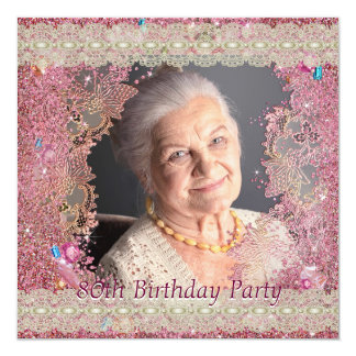 Pink Sparkles Womans Photo 80th Birthday Party Card