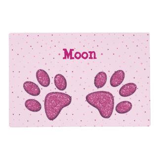 pink sparkling cat paw print - laminated placemat