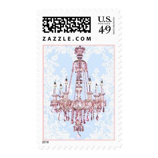 Pink Sparkling Chandelier Postage Stamp