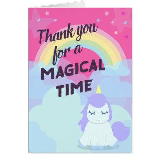 Pink sparkling magical rainbow unicorn thank you card