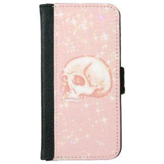 Pink sparkling skull wallet phone case for iPhone 6/6s