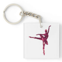 Pink Sparkly Ballerina double-sided Keychain