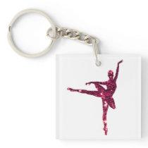 Pink Sparkly Ballerina Keychain