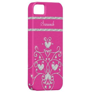 Pink Sparkly Diamond Tiara Hearts iPhone 5 Case