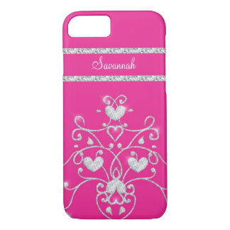 Pink Sparkly Diamond Tiara Hearts iPhone 7 case