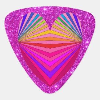 Pink Sparkly Glam Guitarist Princess Glittery Fun Guitar Pick