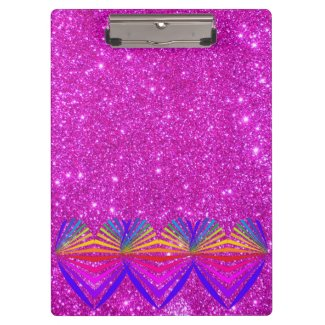 Pink Sparkly Glittery Girly Clipboard Glam Hearts