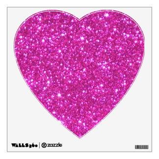 Pink Sparkly Heart Princess Glam Decor Glitter Fun Wall Decal