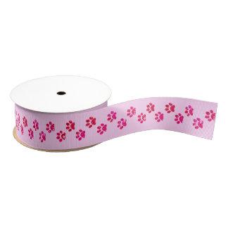 Pink Sparkly Paw Print Ribbon