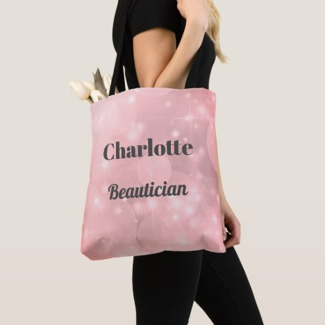 Pink sparkly Personalised Beautician Tote Bag