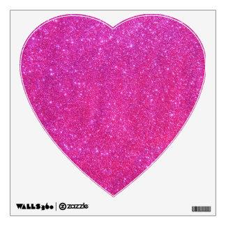 Pink Sparkly Sparkle Glitter Glam Girly Heart Art Wall Sticker