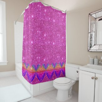 Pink Sparkly Sparkling Glittery Girly Chic Glam Shower Curtain