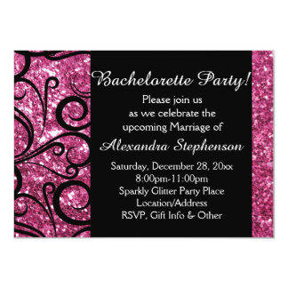 Pink Sparkly Swirl Bachelorette Party Card